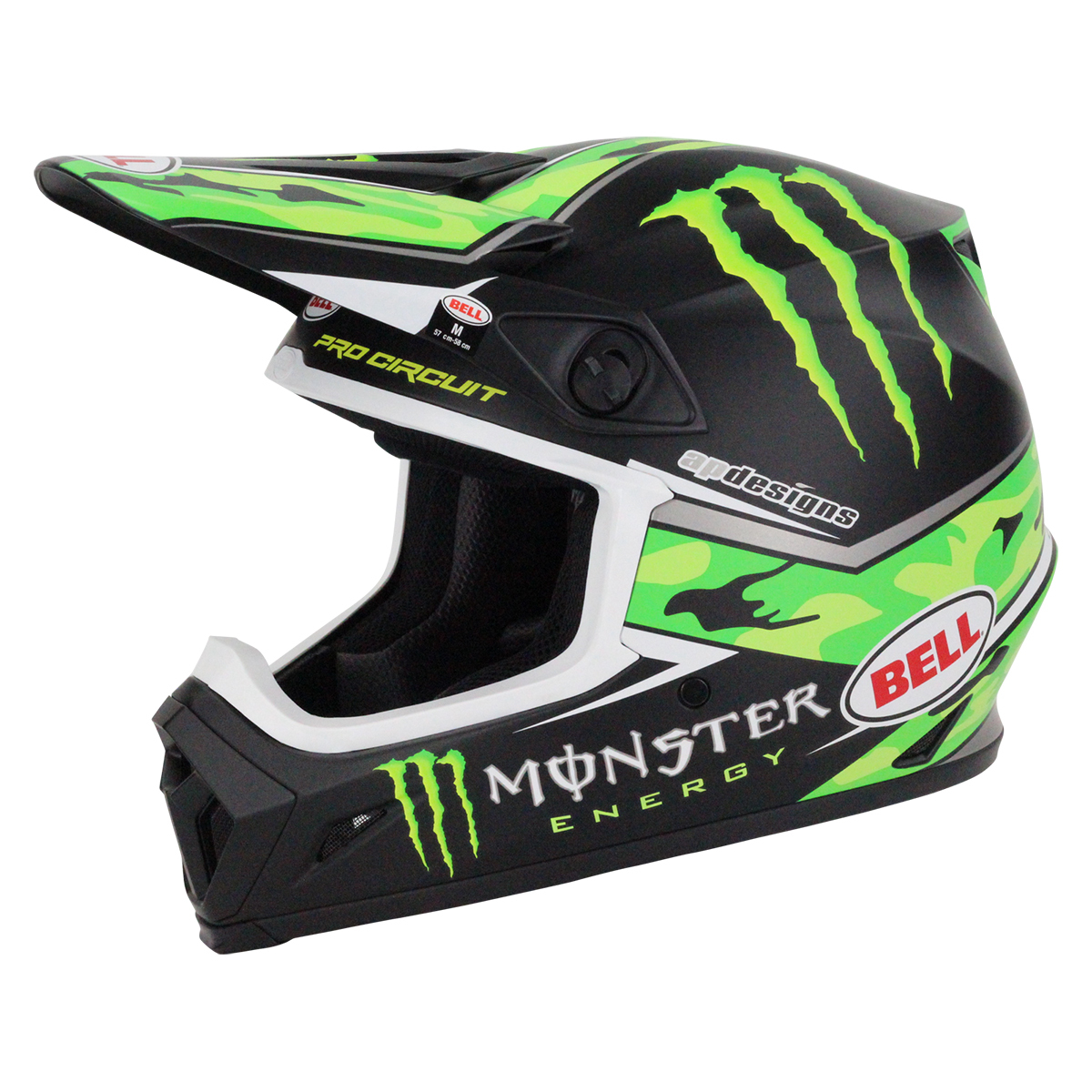 ... NEW 2017 MX-9 Pro Circuit Monster Kawasaki Camo Green Motocross Helmet