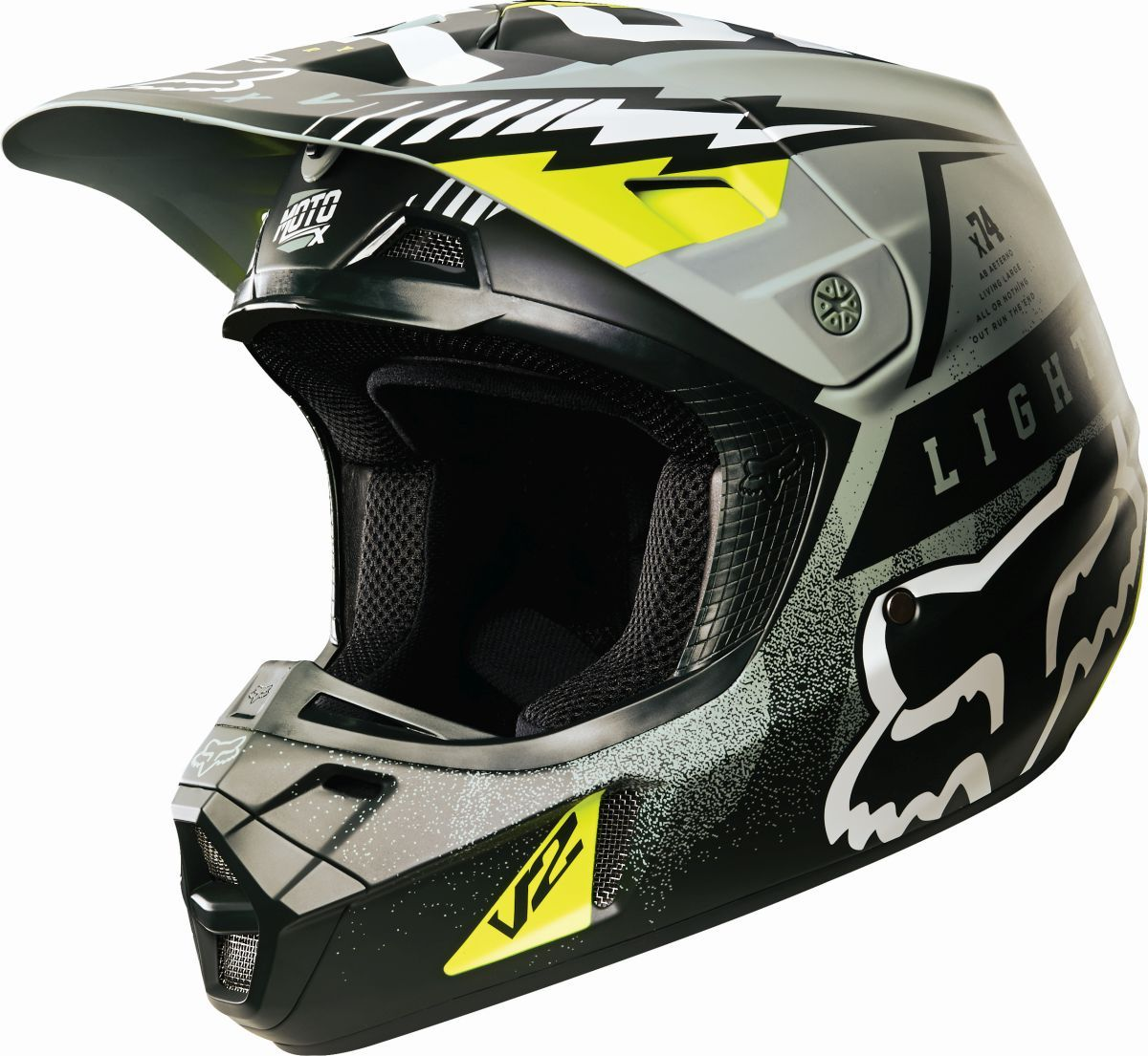 ... NEW 2016 Mx V2 Vicious Army Green Grey MTB Motocross Dirt Bike Helmet